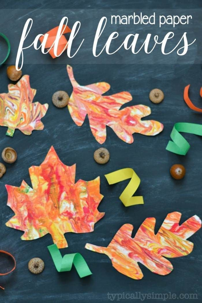 Marbled Paper Fall Leaves - Kids' Craft | Homeschool | Leaf