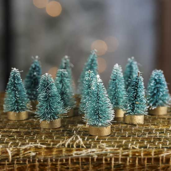 Miniature Frosted Green Bottle Brush Trees   Miniatures   View All    Dollhouse Miniatures   Doll Making Supplies   Craft Supplies