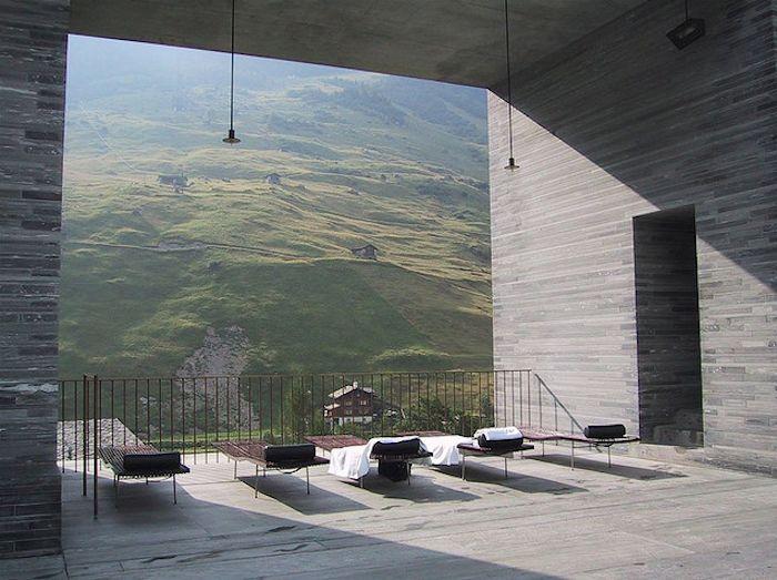 Peter Zumthor's Thermal Baths Vals. Built into the hillside of Graubünden, Switzerland.