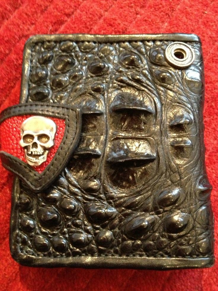 Ron Bryant Wallet  (One Too Many Black Alligator Wallet Custom, Men's Preowned Designer Wallets, Skull Clasp)