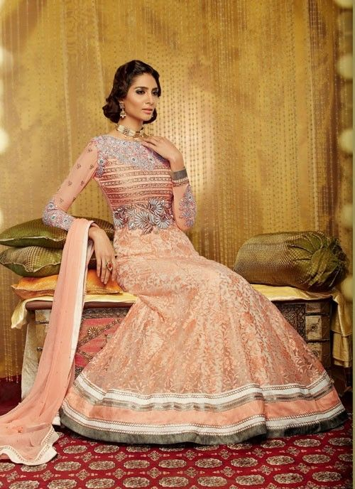 Fabulous #Coral #Suit With #Resham & Patch Patti Work