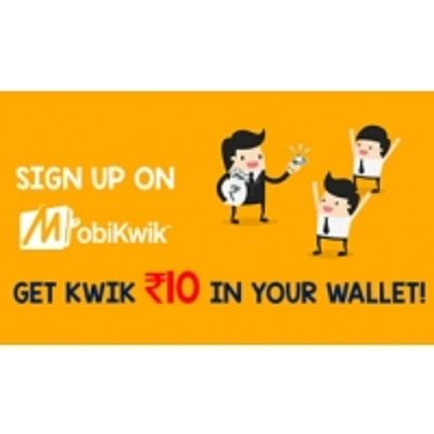 Mobikwik is offering Sign Up on Mobikwik Android App & Get Rs.10 How to catch the offer: Click here for offer page Download App Sign up Valid only new user