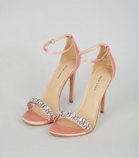 Pink Satin Embellished Heeled Sandals | New Look