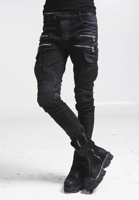Details about Mens Twill Pants Biker Moto Knee Zipper Casual Slim Fit Straight Cotton Trousers