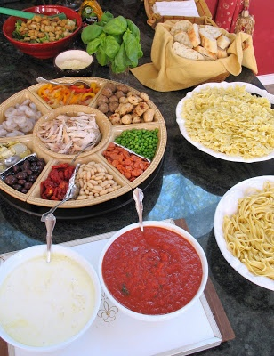 Host a Pasta Party. The host cooks up a few kinds of pasta. Pasta Party! (each guest brings their favorite sauce to share (Alfredo, meat sauce, marinara, spicy, etc.) Salad and Garlic Bread on the side. Yum! BRILLIANT!!!!
