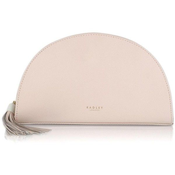 Radley Half Moon Place Medium Ziptop Clutch ($130) ❤ liked on Polyvore featuring bags, handbags, clutches, radley purse, party purses, cocktail purse, tassel clutches and pastel pink purse