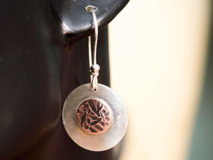 Disc Earrings , Copper and silver earrings, Disc Dangle Earring ,Circle Dangle Earring ,Every day earrings,Silver disc earrings,Mixed metal