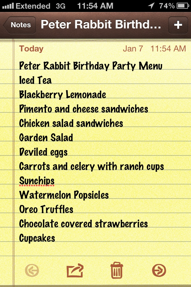 Peter Rabbit Birthday Party Menu