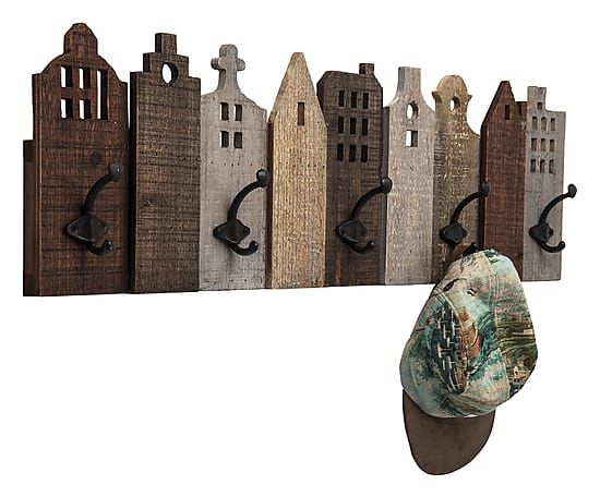 Appendiabiti da parete in acciaio con 5 ganci Terrace, 25.5x82x7.5 cm