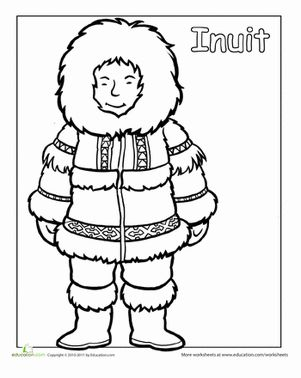 First Grade People Community & Cultures Worksheets: Multicultural Coloring: Inuit