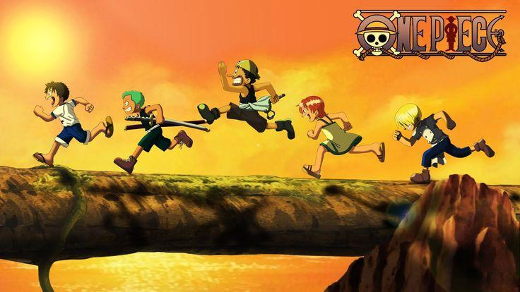 One Piece Kid Luffy, Zoro, Usopp, Nami and Sanji Wallpaper