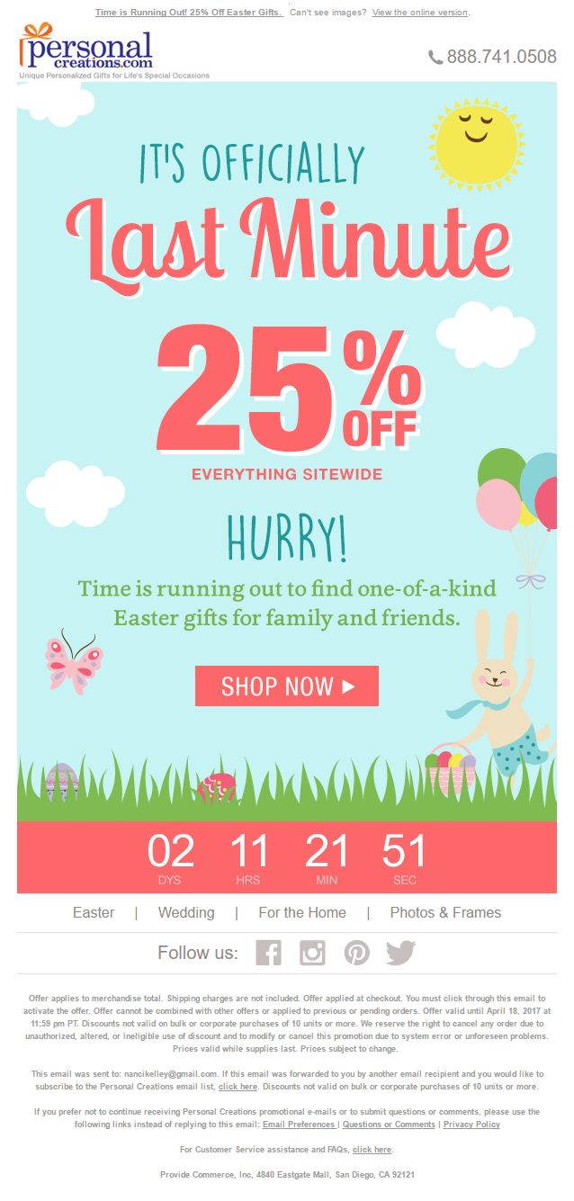 Countdown Timer to end of sale in email from PersonalCreations.com #EmailMarketing #Email #Marketing #CountdownTimer #Countdown #Timer #Sale