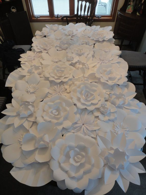 White Paper Flower Wall RENTAL 4ft x 8ft   Extra Large Paper Flowers Decoration Photo Backdrop Prop ****RENTAL****