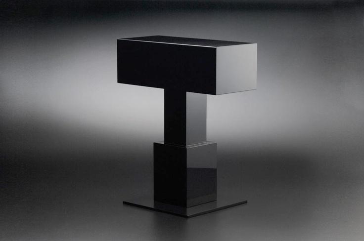 Ettore Sottsass, Side Table 'Kagaribi', design 2007, for MaruTomi, Japan. Urushi lacquer, black (roiro finish). Photo: Kinoshita Yasuhiko