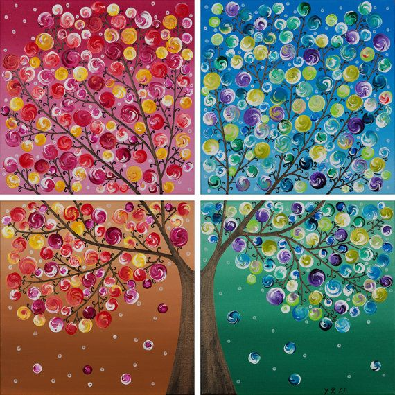 Original Four Seasons Painting Large Square by QiQiGallery