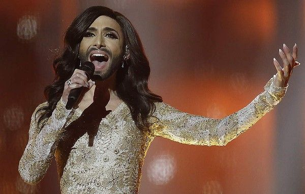 Singer Conchita Wurst representing Austria performs the song ' Rise Like a Phoenix' during a rehearsal for the second semifinal of the Eurovision 2014 Song Contest.