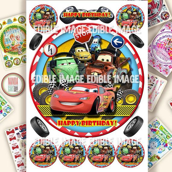 Edible image Disney Cars Cupcake Toppers for Disney Cars Birthday, Disney Cars Party, Icing personalised Cake toppers