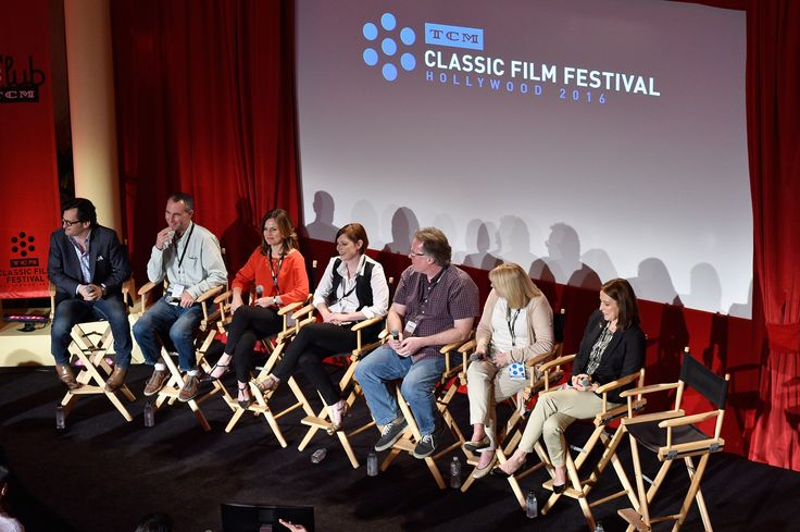 TCM host Ben Mankiewicz, SVP of Programming at TCM Charles Tabesh, VP and Creative Director at TCM Pola Changnon, TCM Classic Film Festival Director Genevieve McGillicuddy, VP of Studio Production at TCM Sean Cameron, VP of Talent at TCM Darcy Hettrich, and General Manager of TCM Jennifer Dorian speak onstage at 'Meet TCM' during day 1 of the TCM Classic Film Festival 2016  (Photo by Stefanie Keenan/Getty Images for Turner)  #TCMFF #TCMFFSP  #classicmovies