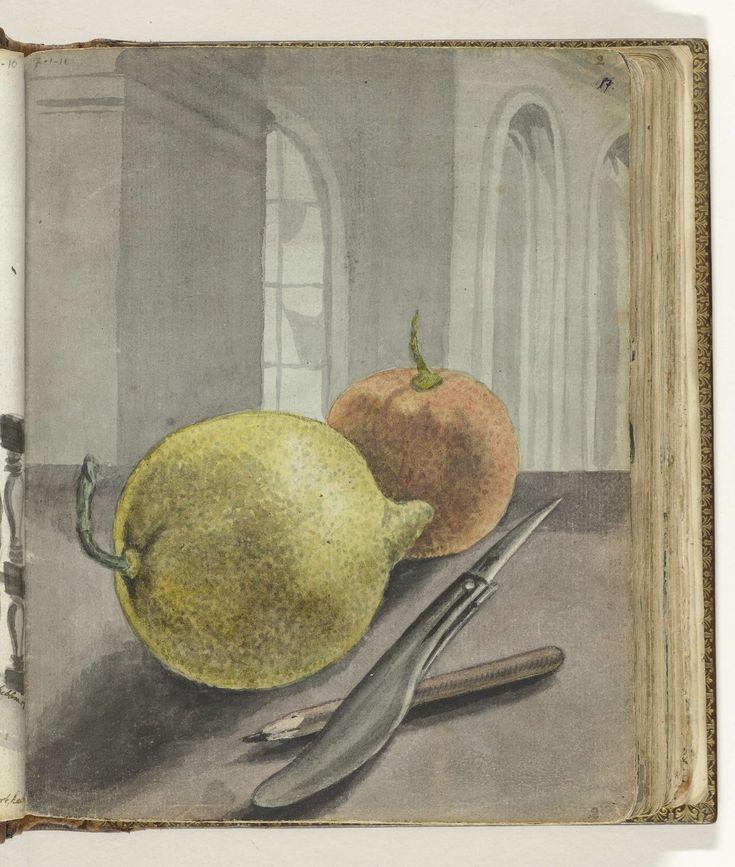 Jan Brandes | Stilleven met vruchten, mes en potlood., Jan Brandes, 1779 - 1785 | Kleurtekening van vruchten, mes en potlood op tafel. Een citroenen denkelijk een 'wilde serikaja' (deel 1, p. 55). De achtergrond bestaat uit een muur of pilaar en de boogramen van een kerkachtig gebouw. Onderdeel uit het schetsboek van Jan Brandes, dl. 1 (1808), p. 17.