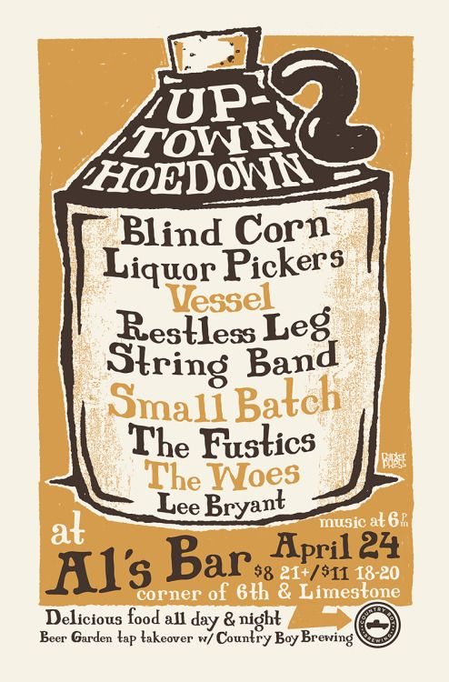 Our poster design for the upcoming…Uptown Hoedown IIAl's Bar and Lexington Lexington bring you the second Uptown Hoedown! The bluegrass party of the season, block party style. Come early, eat, drink, and stay late. Beer Garden tap takeover by Country Boy Brewing.Poster Details:2 color screenprint12.5″ x 19″Edition of 54