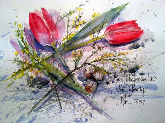 Spring Tulip Card by WatercolorTales on Etsy