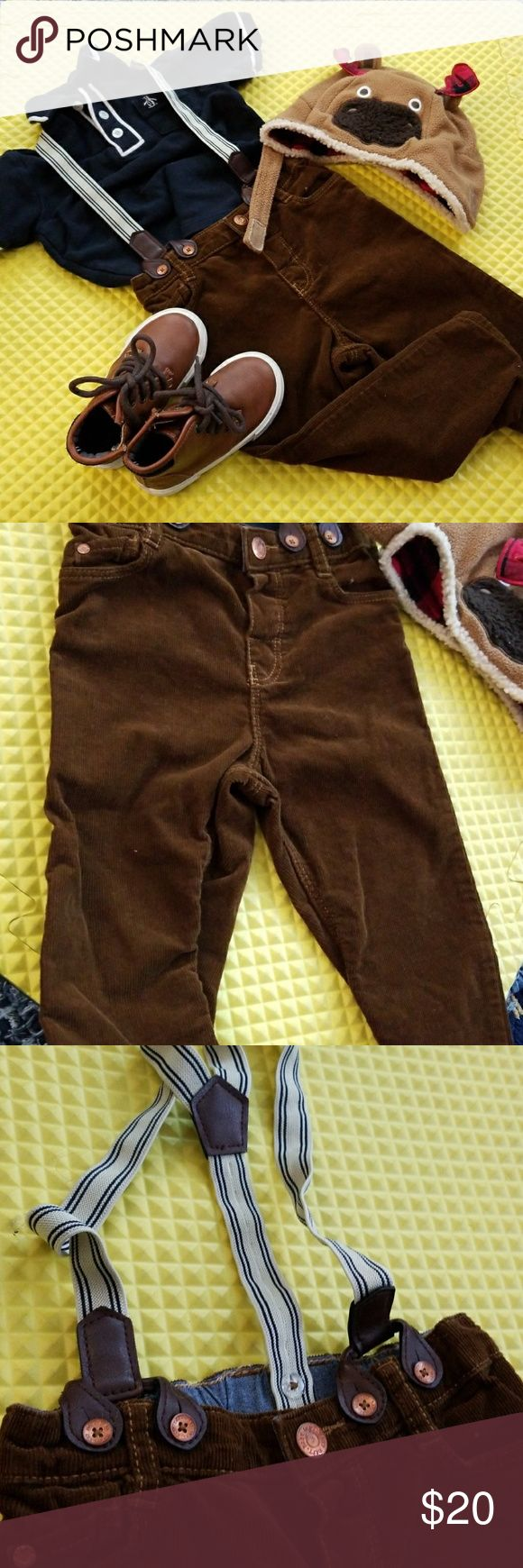 3 piece Baby boy outfit 18m Baby boy outfit 18m Original penguin brand Navy polo Brown cordoroy pants with suspenders H&M brand 12-18m size but fits up to 24m Hat is from carsons 12-24m Original Penguin Other