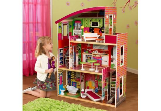 """designer dollhouse  Item Number: 65156  Item Weight: 39.02 lbs.  two curved staircases  three levels of open space  11 pieces of furniture  side windows let you view dolls from various views  large enough that multiple children can play at once  33.54"""" L x 13.58"""" W x 45.66"""" H  MDF, wood, fabric, plastic"""