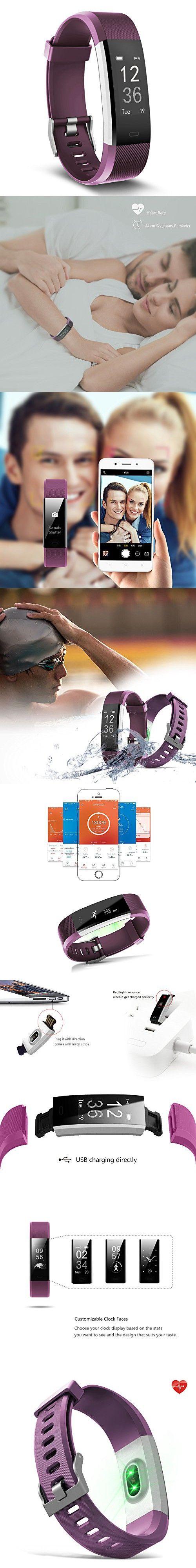 Fitness Tracker, MoreFit Slim HR Plus Heart Rate Smart Bracelet Pedometer Wearable Waterproof Activity Tracker Watch, Silver/ Purple