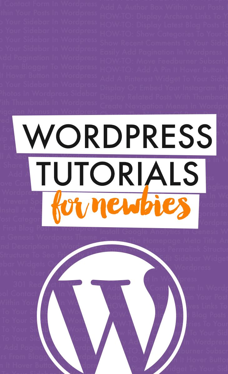 WordPress Tutorials + Tips for Beginners: 301 Redirect In Wordpress Add A Cool Contact Form In Wordpress Add A Author Box Within Your Posts In Wordpress HOW-TO: Display Archives Links To Your Sidebar In Wordpress HOW-TO: Display Latest Blog Posts To Your Sidebar In Wordpress HOW-TO: Show Categories To Your Sidebar In Wordpress Show Recent Comments To Your Sidebar In Wordpress Easily Add Pagination In Wordpress HOW-TO: Move Feedburner Subscribers From Blogger To Wordpress... and more!