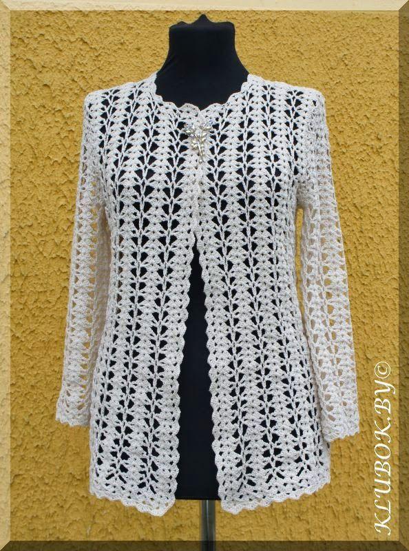 jaqueta de crochê estilo Chanel com gráfico
