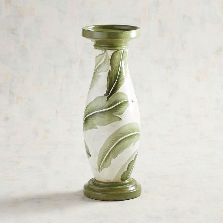 Green Leaf Large Pillar Candle Holder