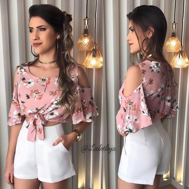 """1,138 curtidas, 9 comentários - L A L E T • Por Layza Aguiar (@laletloja) no Instagram: """"Look da foto anterior no corpo.  • Cropped ombro vazado na viscose floral R$: 89,00 • Short cós…"""""""