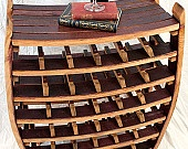 Large Wine Barrel Rack with glass holders- 100% recycled Napa barrels. $350.00, via Etsy.  I want!