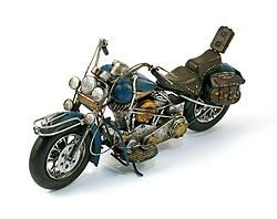 Metal Antique Blue Motorcycle - $62.49