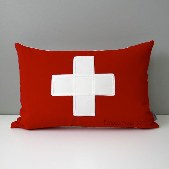 """Flag of Switzerland Pillow Cover, Swiss Flag, Red White Cross, Decorative Throw Pillow Case, Sunbrella Outdoor Cushion Cover 12""""x18"""""""