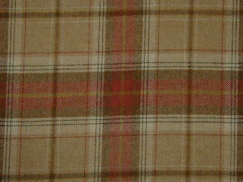 Curtain Fabric 100 Wool Tartan Plaid Check Red Oatmeal
