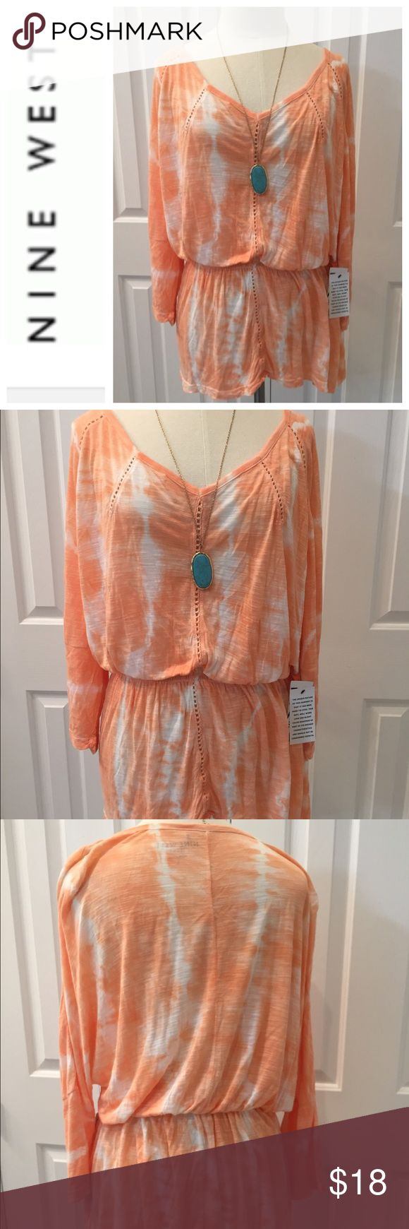 NWT Nine West Orange Tye Dye Blouse Large Fun and flirty New with tags Nine West comfy rayon top. 3/4 length sleeves . Rayon . Elastic waist. Check out my closet to save on bundles. Reasonable offers accepted. Nine West Tops Blouses