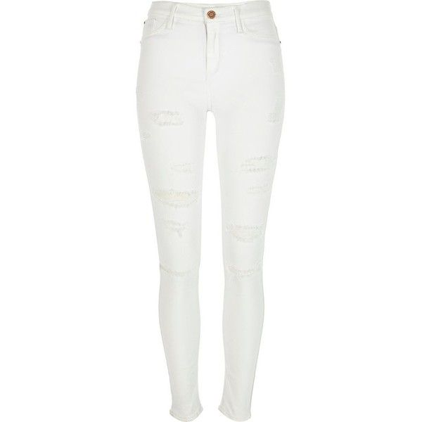 River Island White distressed Molly jeggings (€80) ❤ liked on Polyvore featuring pants, jeans, bottoms, pants and shorts, calça, white, jeggings, women, zipper pants and distressed pants