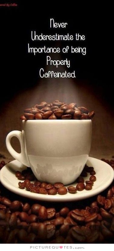Never underestimate the importance of being properly caffinated. Picture Quotes.