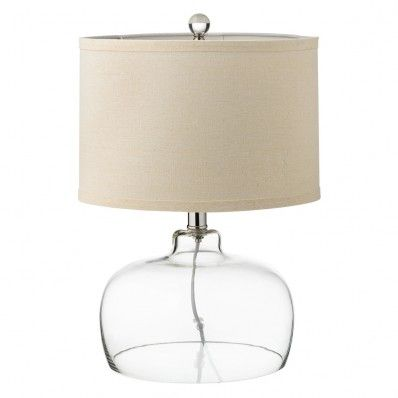 Clear Glass Base Lamp with Beige Linen Shade