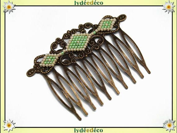 Peigne cheveux rétro vintage mariage tissage perles japonaises