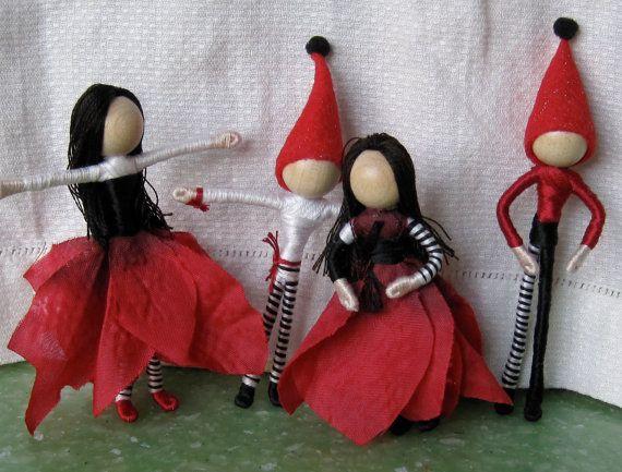 Dollhouse Family - Parents and Children - Flower Fairy dolls - Custom order