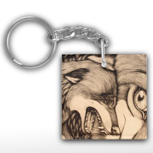 """You Promised "" illustrated snarling wolf Keychain"