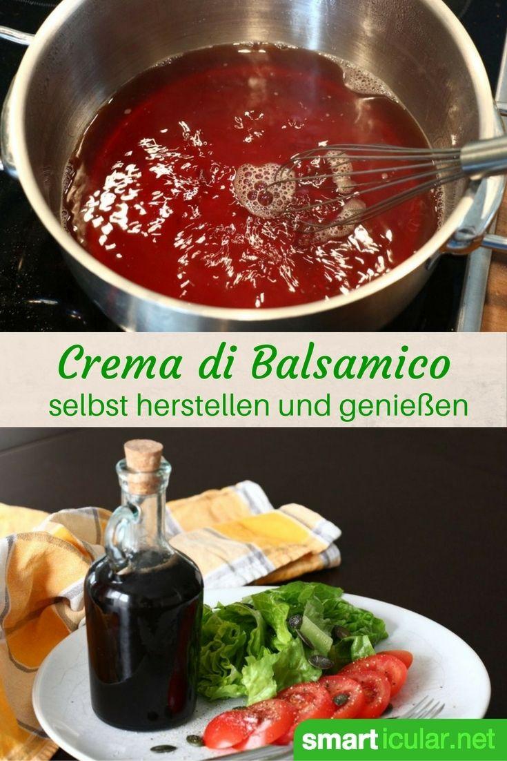 Handelsübliche Crema di Balsamico ist kostspielig und fast nur in Plastikflaschen zu finden. Dabei ist es ganz leicht deine individuelle Creme zuzubereiten!