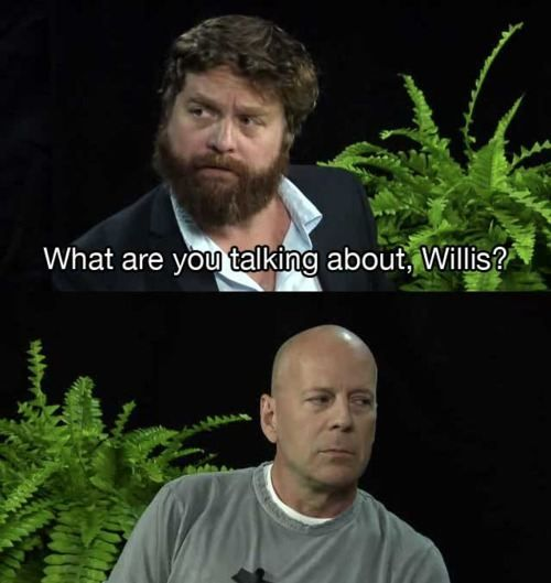 ha: Giggle, Bruce Willis, Zach Galifianakis, Between Two Ferns, Funny Stuff, Willis End, Talkin Bout