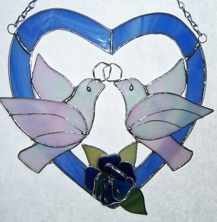 Wedding or Anniversary Stained Glass Heart with two Doves and Flower | Designs-in-Stained-Glass - Glass on ArtFire