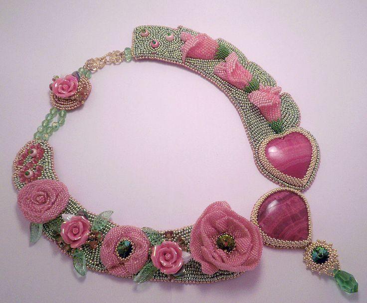 Купить Розовый сад - бисер, украшение, розовый сад, разноцветный, розы, бутоны, васильева, родохрозит