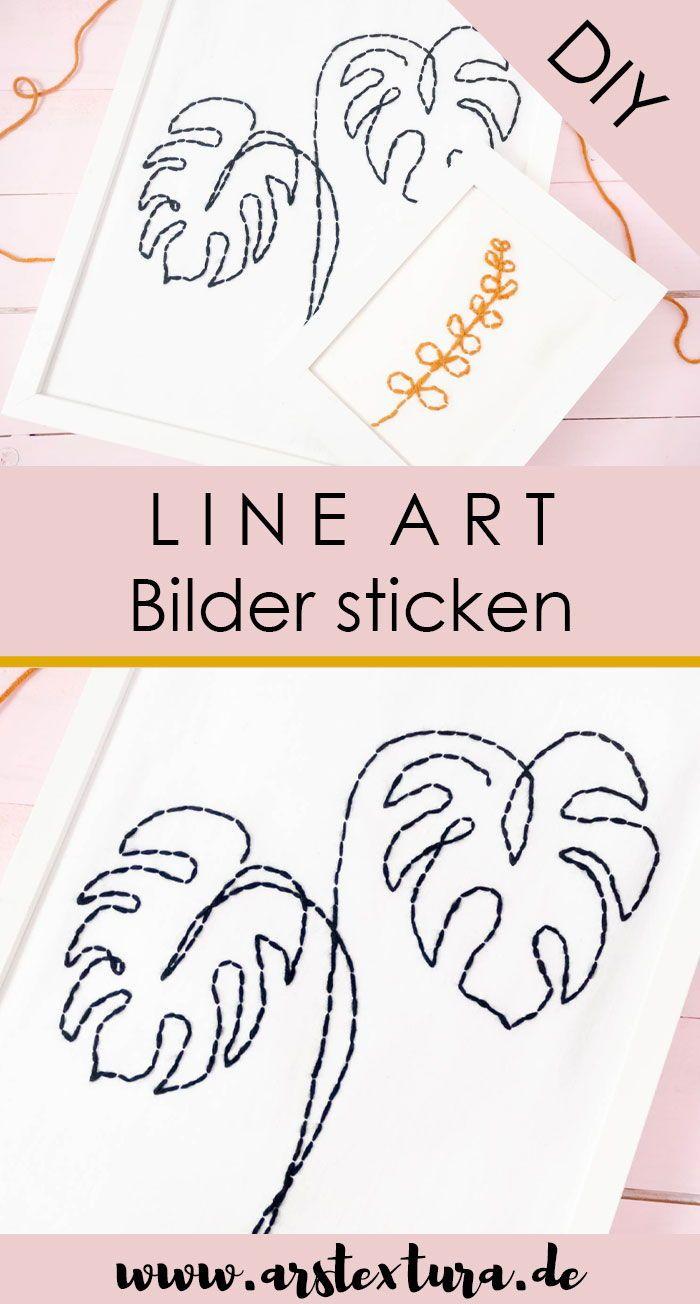 Line Art Bilder Mit Pflanzen Sticken Ars Textura Diy Blog In 2020 Sticken Diy Blog Geschenkideen Selber Machen
