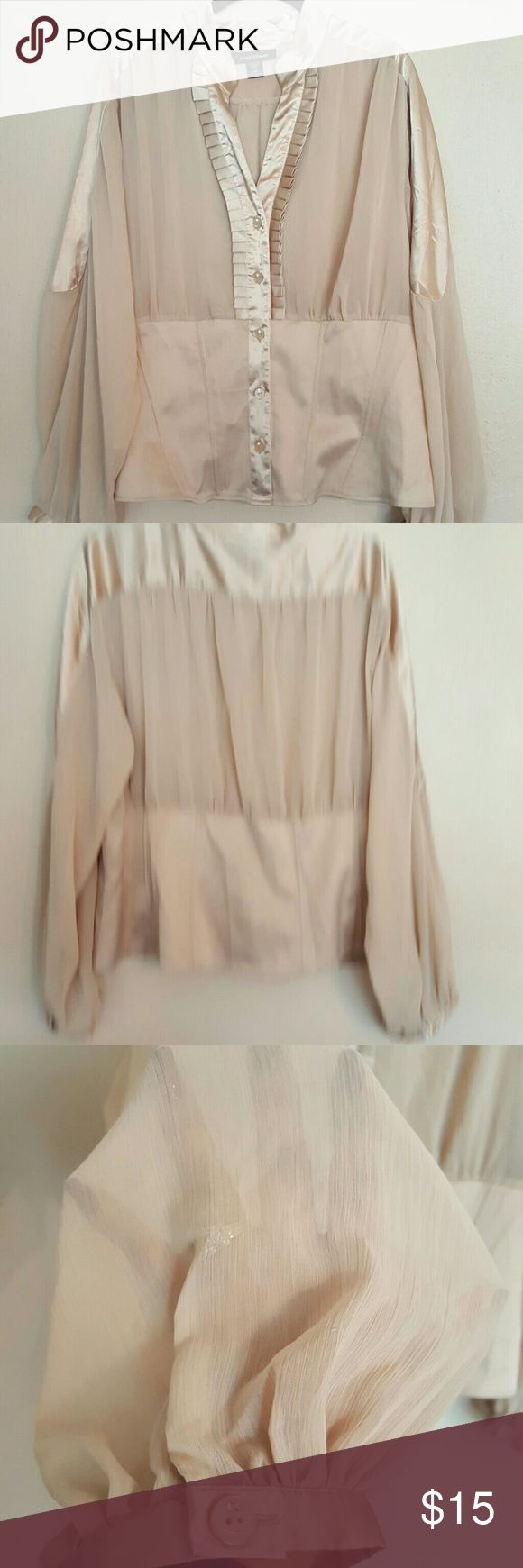 Ashley Stewart blouse Ashley Stewart cream colored blouse. Top is made of satin-like material, middle and sleeves are see through, bottom is made of girdle like material. Buttons have a cute little rhinestone on them.   Very Cute!! Ashley Stewart Tops Blouses