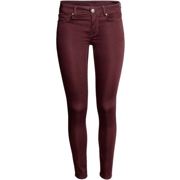 Super Skinny Regular Jeans $19.99 ($20) ❤ liked on Polyvore featuring jeans, pants, bottoms, h&m, skinny leg jeans, 5 pocket jeans, red denim jeans, red jeans and skinny fit jeans
